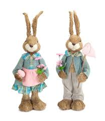 set of 2 sisal easter bunny rabbit decorations with flowers