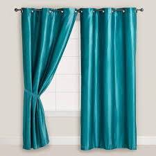 Blue Window Curtains Blue Dupioni Grommet Curtain World Market