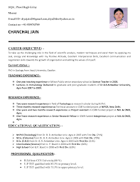 Career Objective For Resume For Fresher Resume Sample For Freshers In Teaching Resume Templates
