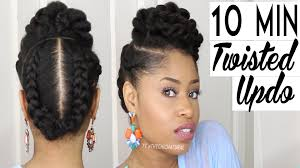 natural african american updo hairstyle the 10 minute twisted updo