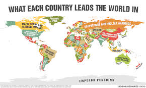 World Map Poster Large Doghouse What Each Country Leads The World In