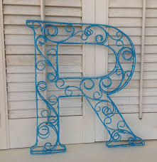 scrolled wire letter r metal wall or shelf decor by