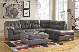 faux leather sectional w right chaise u0026 tufting by signature