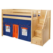 hardwood mid height loft bed with staircase in 3 finishes