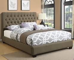 Tufted Headboard Bed Burlap Upholstered Bed With Tufted Headboard