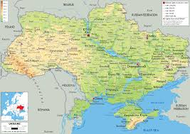 Europe Physical Features Map by Physical Map Of Ukraine Ezilon Maps