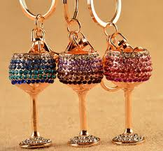 wine glass keychain exquisite enamel wine glass key chains holder purse