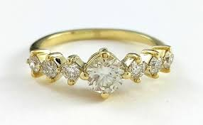 art deco engagement ring 14k yellow gold with diamonds antique