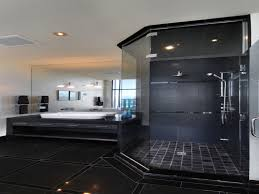 appealing deco bathroom design with shiny black tile floor and