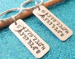 personalized keychain gifts his and keychain etsy