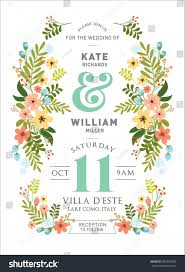 Weeding Invitation Card Floralflowers Wedding Invitation Card Template Vectorillustration