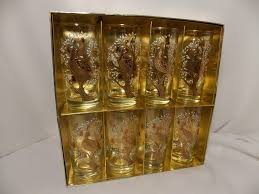 vintage 1969 libbey crown collection partridge in a pear tree set