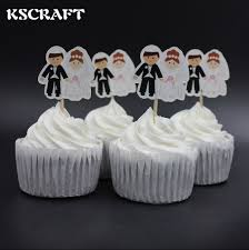 aliexpress com buy kscraft bride and groom party cupcake toppers