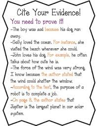 cite evidence anchor chart worksheet by amy u0027s third grade adventures