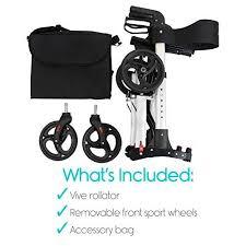 Transport Walker Chair Rollator Walker By Vive 4 Wheel Medical Rolling Walker With Seat
