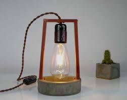 concrete table lamp etsy
