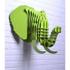 wooden animal wall ornament elephant ah001 black