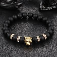 black bead bracelet with charm images Leopard charm natural stone beads bracelet ancient explorers jpg