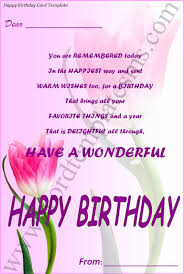 happy birthday card template download page word excel formats