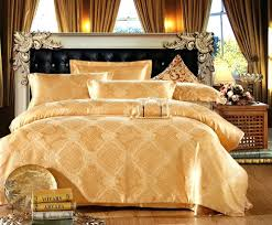 White And Gold Bedding Sets Yarn Dyed Poly Silk Bamboo Cotton Jacquard Bedding Set Gold 1