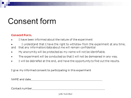 psychology consent form 5 consent form experimental research