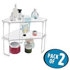 Amazoncom MDesign Free Standing Corner Storage Shelf For - Bathroom vanity counter top 2