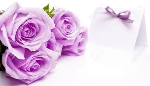 Invitation Card With Photo Purple Roses And Blank Invitation Card With A Bow Stock Photo