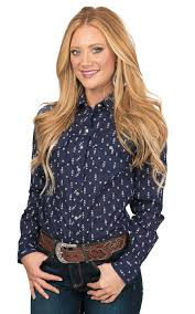 cruel women u0027s navy with arrow print long sleeve western snap shirt