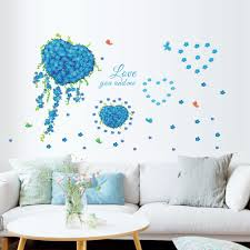 romantic love you and me blue heart flower butterfly wall sticker romantic love you and me blue heart flower butterfly wall sticker decals wallpaper poster mural tv