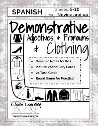 adjectives for thanksgiving task cards inb notes u0026 game for clothing demonstrative