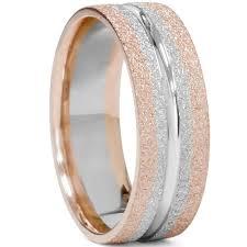 brushed gold wedding band 14k white gold two tone mens 6mm wedding band flat ring