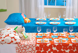 unique baby shower theme ideas different baby shower ideas orange blue polka dot pattern dinner