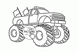 large monster truck with flags coloring page for kids