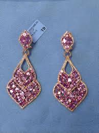 White Chandelier Earrings 14k White Gold Pink Sapphire Chandelier Earrings
