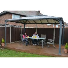 Gazebo With Awning Sojag Inc Genova Sunshelter Outdoor Gazebo With Side Netting