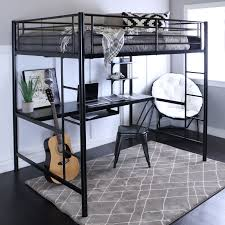 walker edison steel full size loft bed with computer workstation