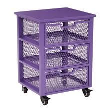 clayton 3 drawer rolling cart in purple metal finish frame office