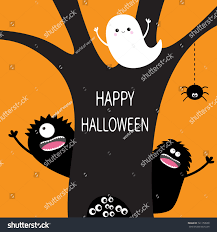 happy halloween flying ghost hanging spider stock illustration