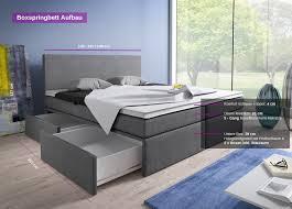 Betten Schlafzimmer Amazon Boxspringbett 140x200 Mit Bettkasten Grau Stoff Hotelbett