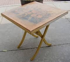 Folding Wood Card Table Vintage Decorative Folding Wooden Card Table W Yellow Flowers On