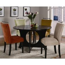 Microfiber Dining Room Chairs Mirage Round Table Microfiber Parson Chairs 5 Piece Dining Set