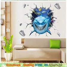 Nemo Bathroom Aliexpress Com Buy 3d Shark Break Through The Wall Stickers