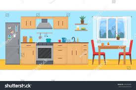 kitchen furniture cozy kitchen interior table stock vector