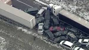 three people killed in huge 40 car pile up as snowstorms and ice
