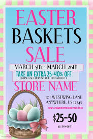 easter baskets for sale easter basket sale event flyer template postermywall