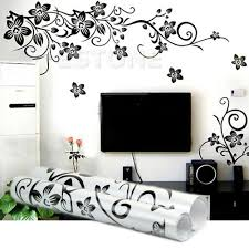 black flowers removable wall stickers wall decals mural home art does not apply