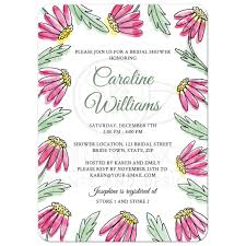garden bridal shower invitation with pretty pink water color flowers