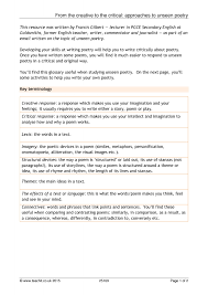 resume word doc formats of poems ks4 unseen poetry teachit english