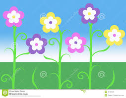 Purple And Blue Flowers Pink Purple And Yellow Spring Easter Vine Flowers Illustration