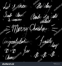 handwriting lettering happy new year and merry set
